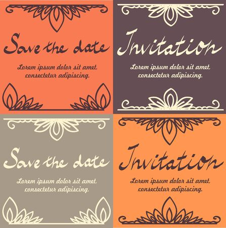 Save the date wedding invitations, vector set Vector