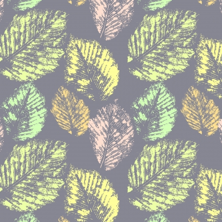 Pastel colors autumn leaves prints on gray seamless pattern, vector  Stock Vector - 15191462
