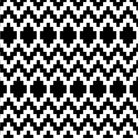 ikat: Ethnic geometric abstract seamless pattern in black and white, vector Illustration