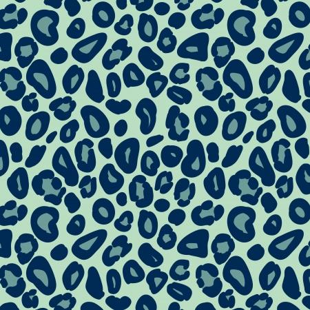 Leopard skin in blue seamless pattern, vector Illustration