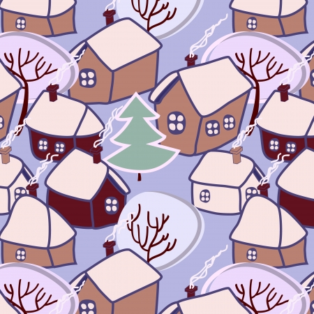 Christmas village seamless pattern Vector
