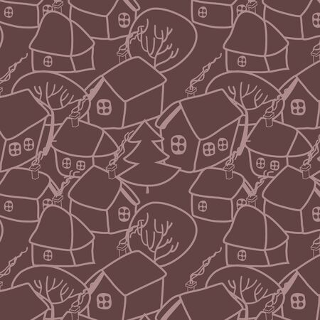 Christmas village in brown seamless pattern Vector
