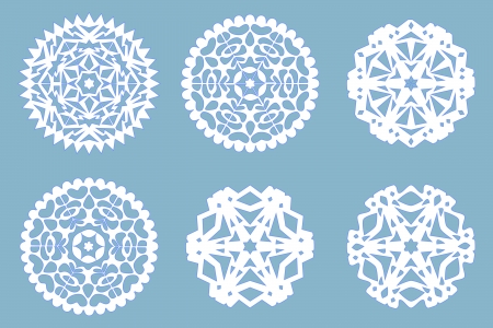 cut paper art: Christmas paper snowflakes collection, vector