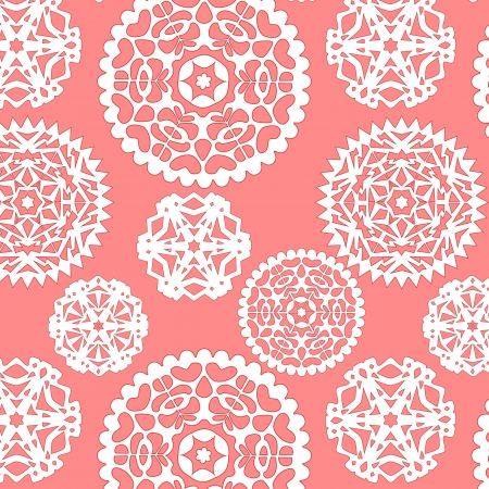 Christmas paper snowflakes seamless pattern in pink, vector Illustration