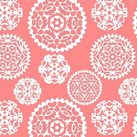 Papel de Navidad copos de nieve sin patrón en rosa, vector
