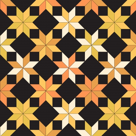 bedspread: Quilt in black and yellow shades seamless pattern