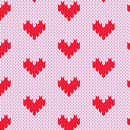 wool texture: Knitted hearts seamless pattern