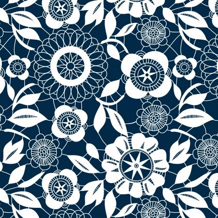 azul marino: Flores blancas de encaje de ganchillo seamless pattern