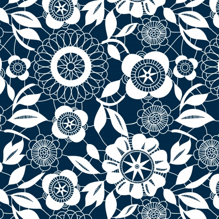 navy blue background: White lace crochet flowers seamless pattern