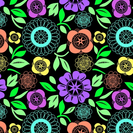 Colorful flowers crochet lace seamless pattern Stock Vector - 15656972