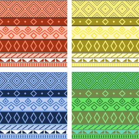 kilim: Aztec native american seamless pattern, four colors set, vector