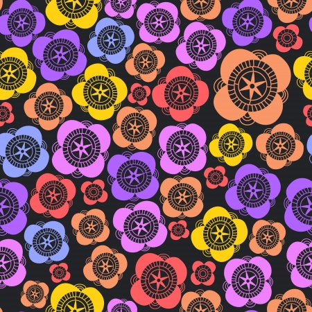 Dark colorful floral seamless pattern, vector Stock Vector - 16267112