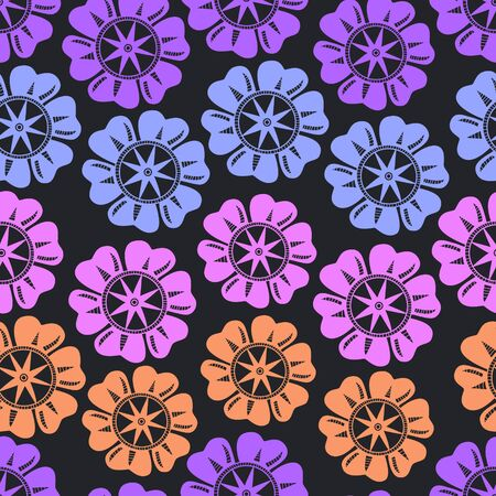 needle lace: Dark colorful floral seamless pattern, vector