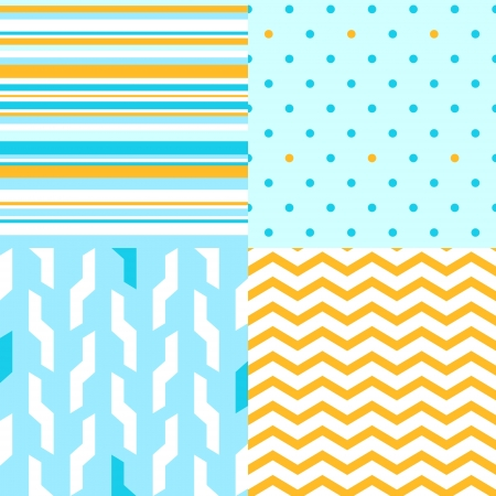 Simple seamless pattern in blue and yellow set, vector Illustration