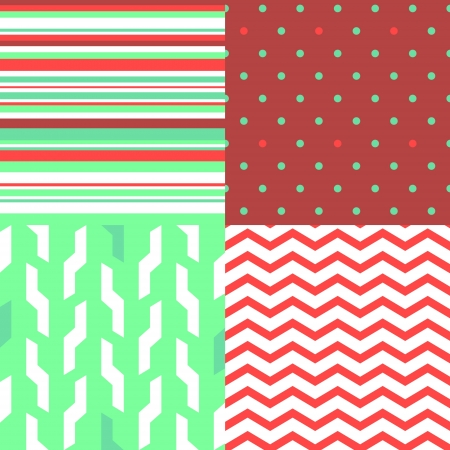 Simple seamless pattern in red and green set, vector Stock Vector - 16267115
