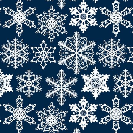 Crochet snowflakes seamless pattern on dark blue, vector Vector