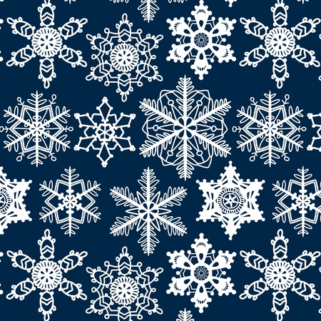needle laces: Crochet snowflakes seamless pattern on dark blue, vector