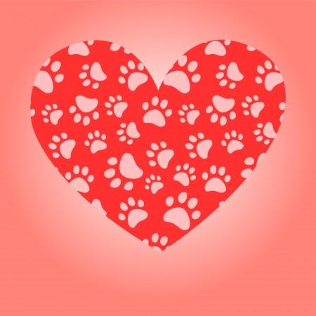 veterinarian symbol: Animal cuore amante carta auguri, vettore