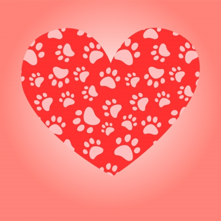 Animal lover heart greeting card, vector