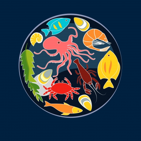 green crab: Sea animals seafood circle composition, vector background Illustration