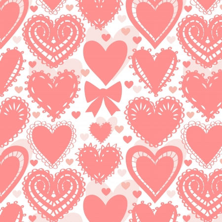 Crochet lacy hearts on white seamless pattern Vector