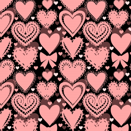 Crochet lacy hearts on black seamless pattern, vector Vector