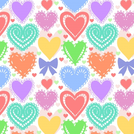 Colorful lacy hearts seamless pattern Vector