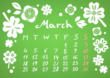 March 2013 calendar sheet Stock Vector - 17098246