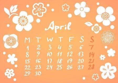 April 2013 calendar sheet Stock Vector - 17119313