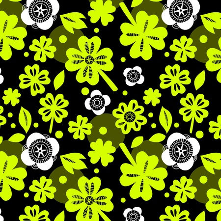 Green four leaf clover seamless pattern Vector