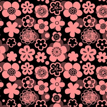 flor de sakura: Sakura flor inconsútil del modelo en negro