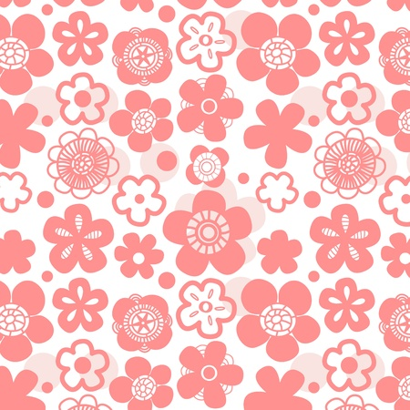 cherry pattern: Sakura flower seamless pattern on white Illustration
