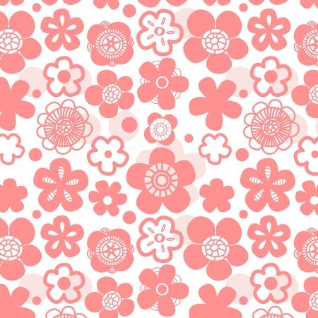 Sakura flower seamless pattern on white Illustration