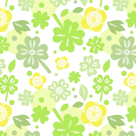 Shamrock on white seamless pattern Vector