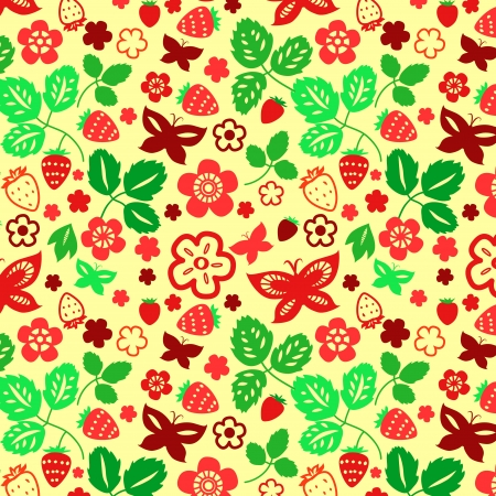 Strawberry leaves and butterflies seamless pattern, vector Vector