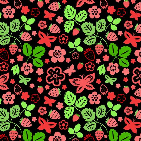 black berry: Strawberry leaves and butterflies seamless pattern in black, vector