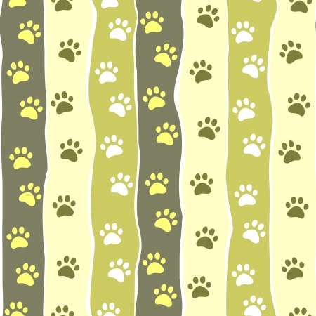 Cat or dog paw striped seamless pattern, vector Vector