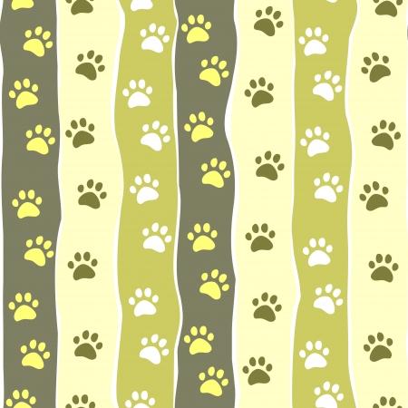 patas de perros: Gato o perro pata rayado patrón sin fisuras, vector