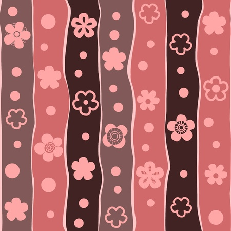 Floral striped seamless pattern, vector Vector