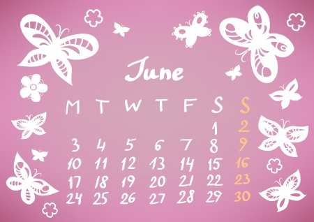 June 2013 calendar sheet, vector Stock Vector - 17185074