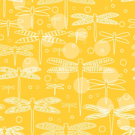 Dragonflies on yellow seamless pattern Vector