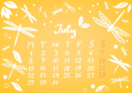 July 2013 calendar sheet Stock Vector - 17239661