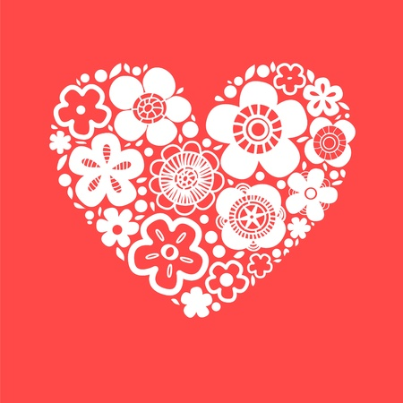Flower heart on red romantic greeting card, vector background Vector