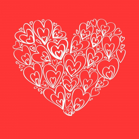 Heart on red romantic greeting card, vector background Vector