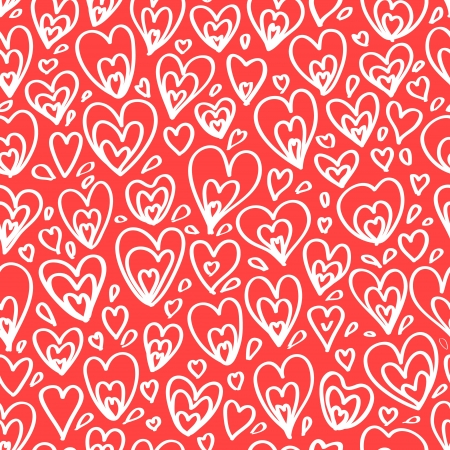 White hearts on red seamless pattern, vector Vector