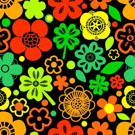 Colorful floral seamless pattern with shamrocks on black, vector