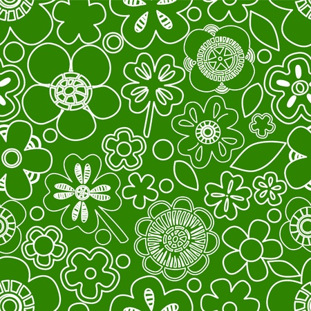Green floral seamless pattern with shamrocks, vector Vector