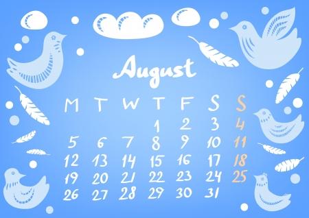August 2013 calendar sheet, vector Stock Vector - 17274516