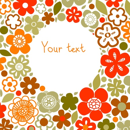 Floral background on white with a circle for custom text, vector Vector
