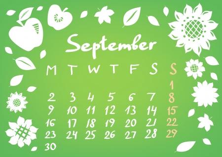 September 2013 calendar sheet Stock Vector - 17339730